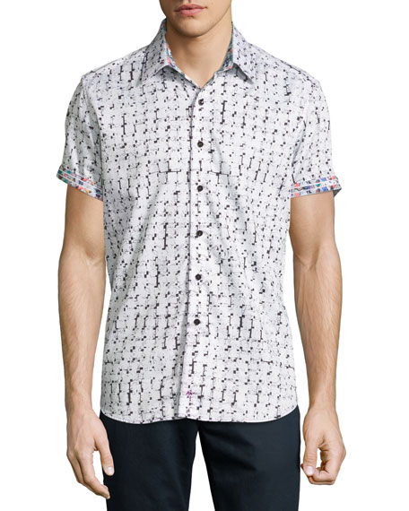 Robert Graham Adama Printed Short-Sleeve Sport Shirt, White