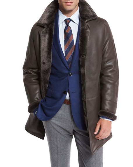 Shearling Fur-Lined Leather Jacket, Brown