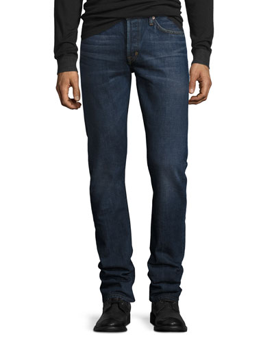 Slim-Fit Selvedge Harrison Wash Denim Jeans, Blue