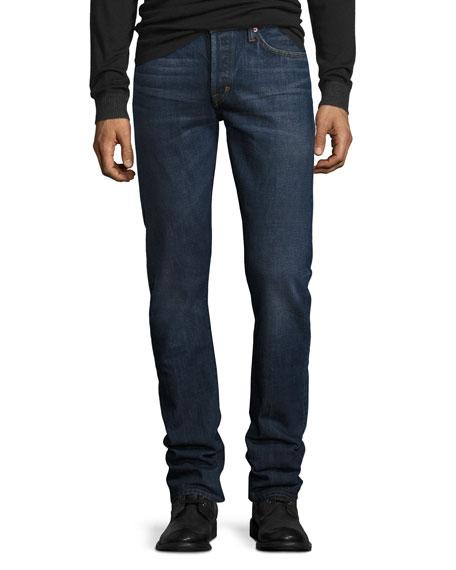 Slim-Fit Selvedge Harrison Wash Denim Jeans, Blue