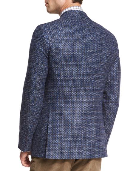 Melange Two-Button Sport Coat, Blue/Charcoal