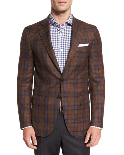Plaid Super 140s Two-Button Sport Coat, Camel/Navy