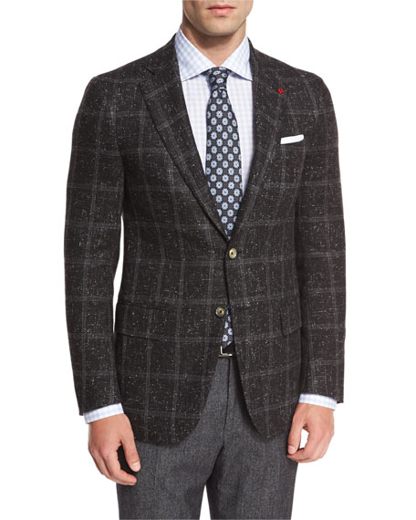 Donegal Windowpane Two-Button Sport Coat, Charcoal
