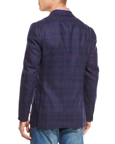 Boucle Plaid Two-Button Sport Coat, Navy