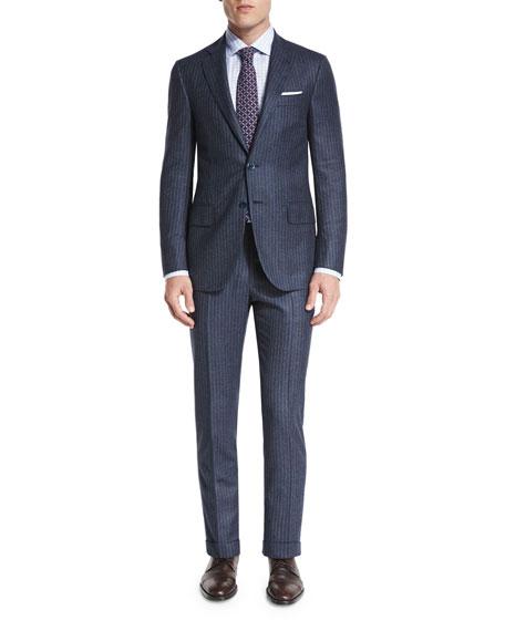 Chalk-Stripe Two-Piece Suit, Petrol Blue