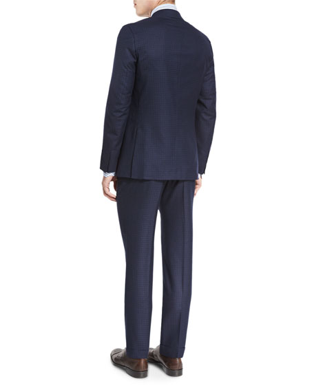 Box-Check Super 160s Wool Two-Piece Suit, Navy