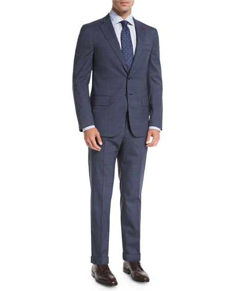 Isaia Glen Plaid Two-Piece Suit, Slate Blue