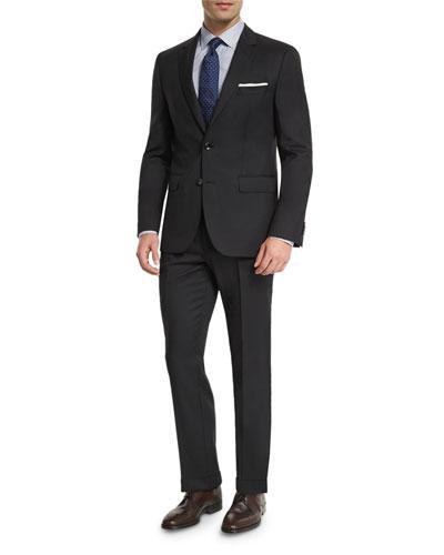 Johnstons Lennon Tonal-Grid Slim-Fit Basic Suit, Black