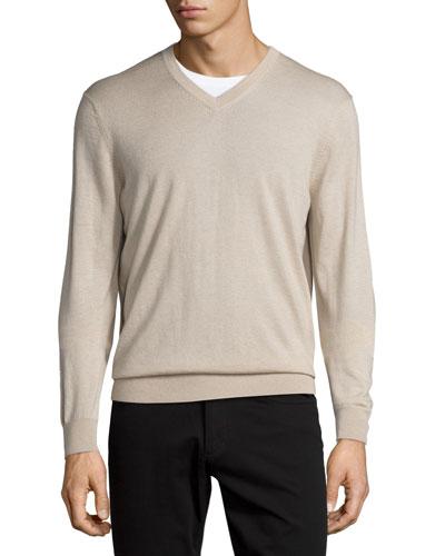 Cashmere-Silk V-Neck Sweater, Sandstorm
