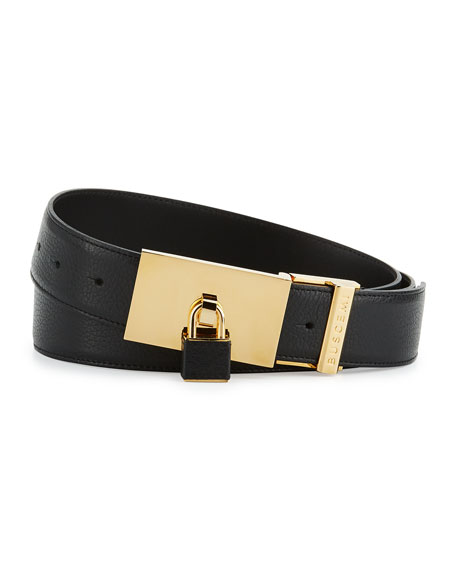 100mm Padlock-Buckle Leather Belt, Black