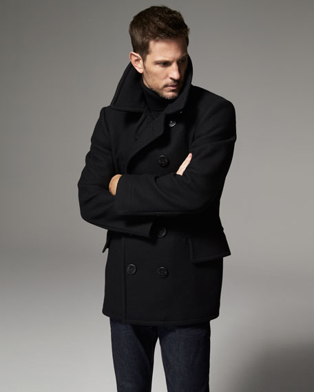 Tom Ford Wool Blend Pea Coat Black, Cotton Peacoat By Tom Ford