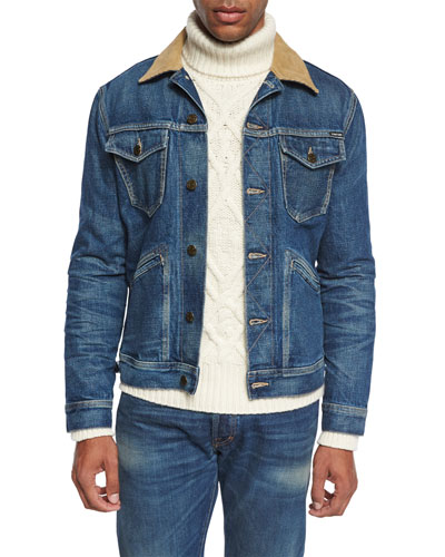 Denim Corduroy-Collar Jacket, Blue