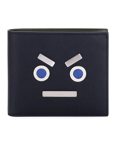 Fendi Leather Face Bi-Fold Wallet, Black