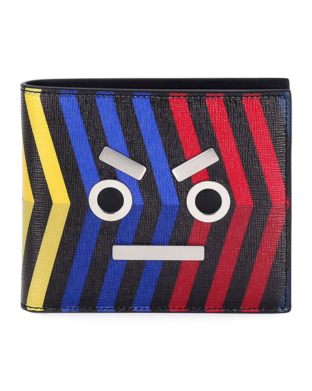 Leather Striped Face Wallet, Multi