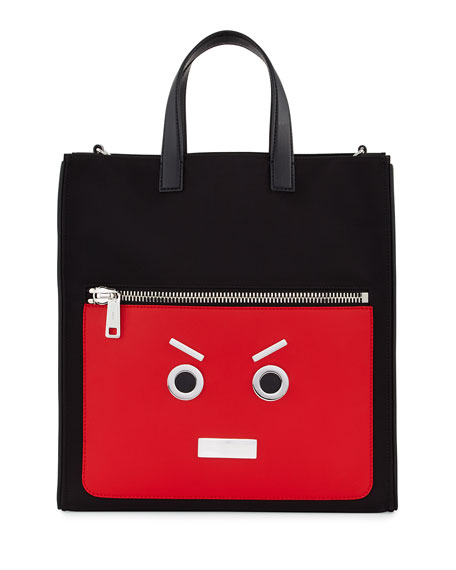 Fendi Fendi Faces Leather Tote Bag, Black/Flame Red