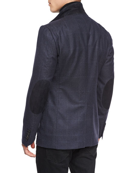 Windowpane-Plaid Cardigan Jacket, Navy