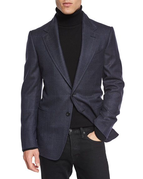 TOM FORD Windowpane-Plaid Cardigan Jacket, Navy