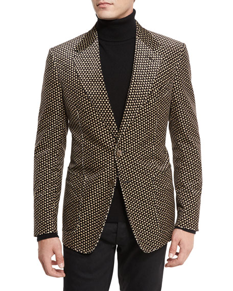 TOM FORD Shelton Base Printed Velvet Sport Jacket,