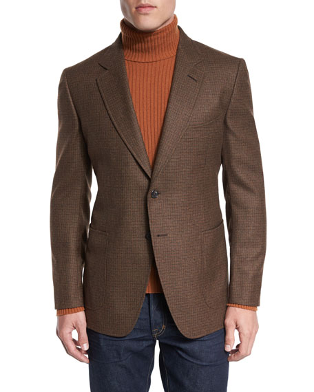 TOM FORD O'Connor Base Box-Check Sport Jacket, Rust