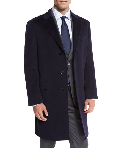 Classic Cashmere Single-Breasted Topcoat, Navy