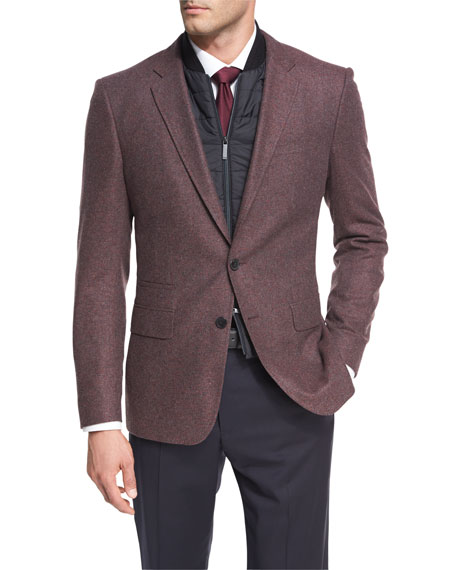 BOSS Hadwart Solid Flannel Two-Button Sport Coat with Vest, Burgundy