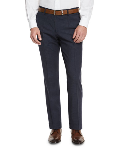 Genesis Grid Flat-Front Trousers, Navy