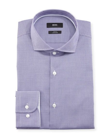 BOSS Jery Slim-Fit Micro-Check Dress Shirt, Purple