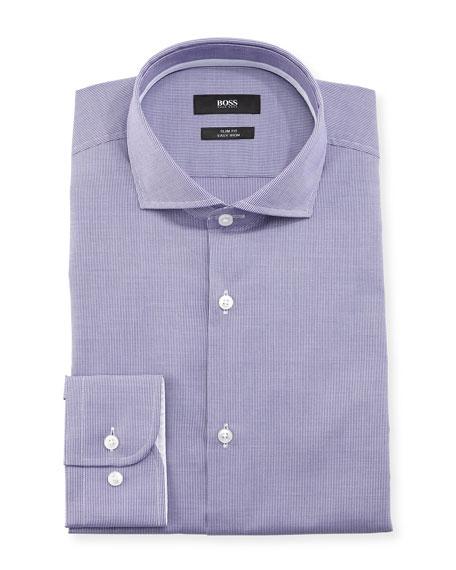 BOSS Jery Slim-Fit Micro-Check Dress Shirt, Purple