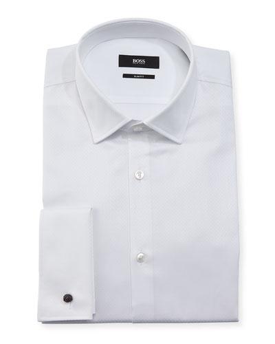 Jacques Slim-Fit Tonal-Dot Dress Shirt, White