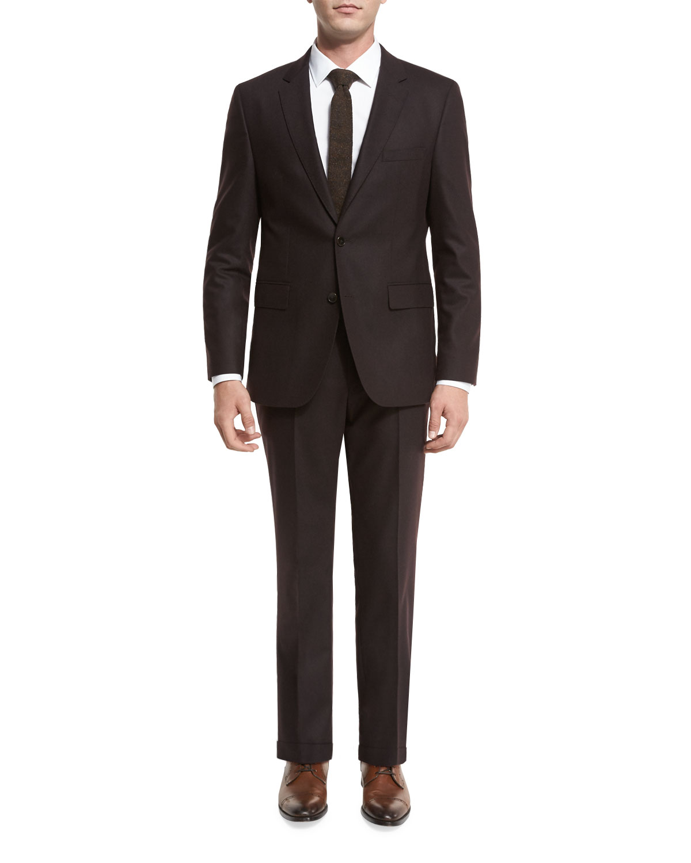 89788e28f BOSS Johnstons Lennon Flannel Two-Piece Suit, Burgundy   Neiman Marcus