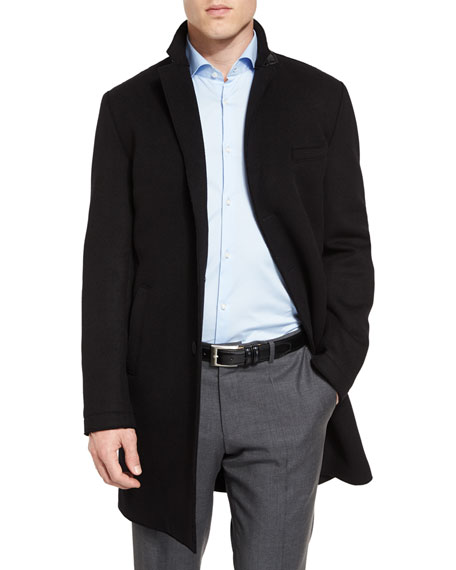 BOSS Shawn Single-Breasted Top Coat, Black