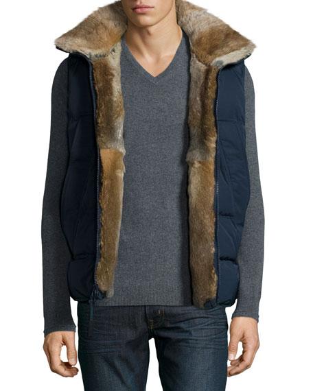 Rabbit Fur-Lined Vest, Navy