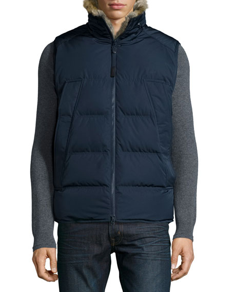 Andrew Marc Rabbit Fur-Lined Vest, Navy