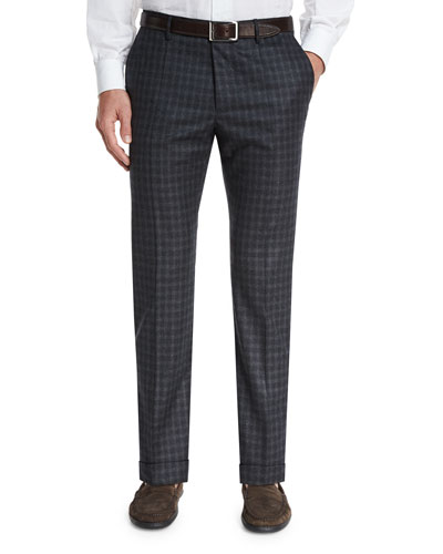 Benson Small Check Flannel Trousers