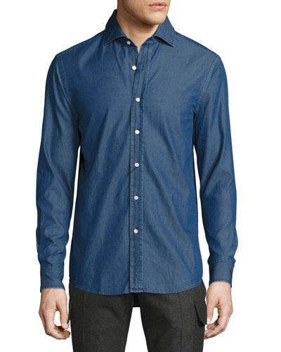 Dark-Wash Chambray Shirt