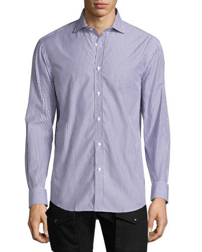 Bengal-Stripe Sport Shirt, Purple