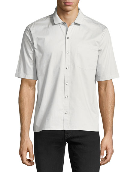 ATM Anthony Thomas Melillo Grosgrain-Collar Short-Sleeve Shirt