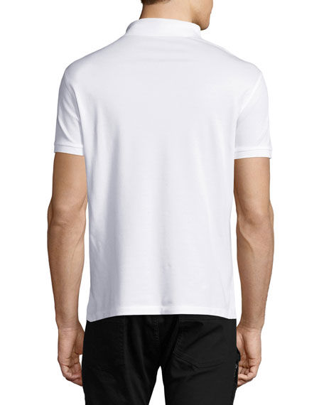 Front-Zip Pique Polo Shirt, White