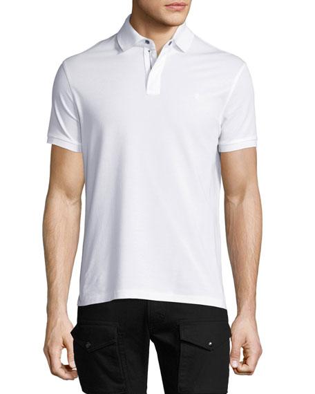 Ralph Lauren Front-Zip Piqué Polo Shirt, White