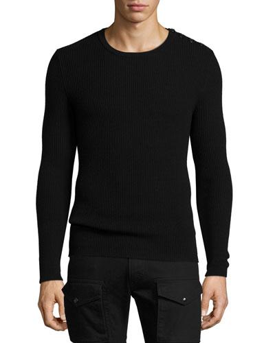 Ribbed Cashmere Button-Shoulder Sweater, Black