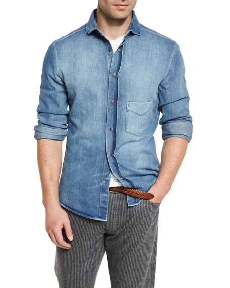 Brunello Cucinelli Light-Wash Long-Sleeve Denim Shirt