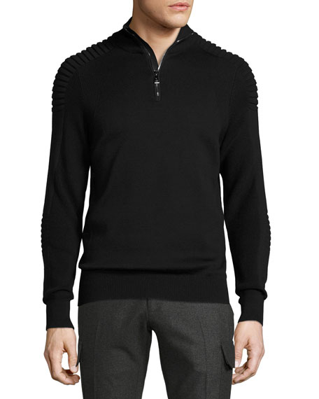Ribbed Merino Wool Half-Zip Pullover, Black