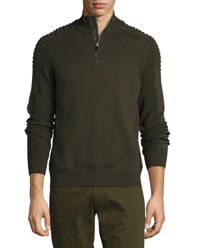 Ribbed Merino Wool Half-Zip Pullover, Olive