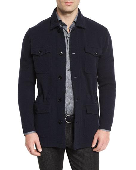 Ermenegildo Zegna Wool/Cashmere-Blend Jersey Field Jacket, Navy