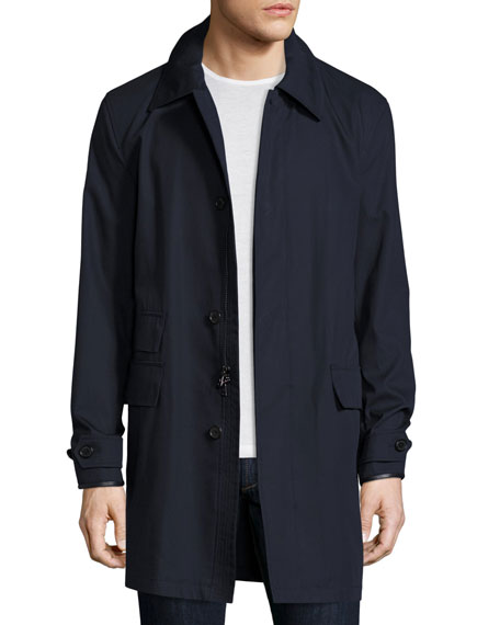 Darley Leather-Trim Raincoat, Navy