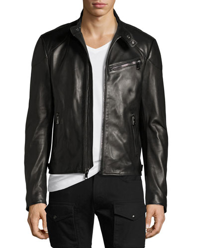 Randall Leather Café Racer Jacket, Black