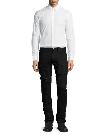 Courier Cargo Denim Jeans, Black