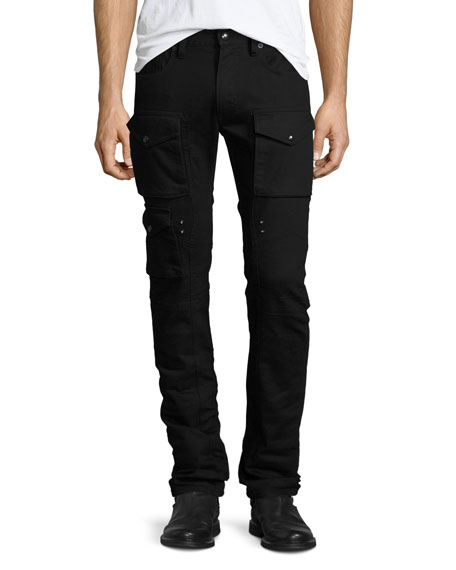Courier Cargo Denim Jeans, Black