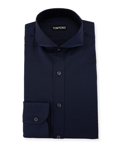 TOM FORD Double-Twist Yarn-Dye Twill Dress Shirt