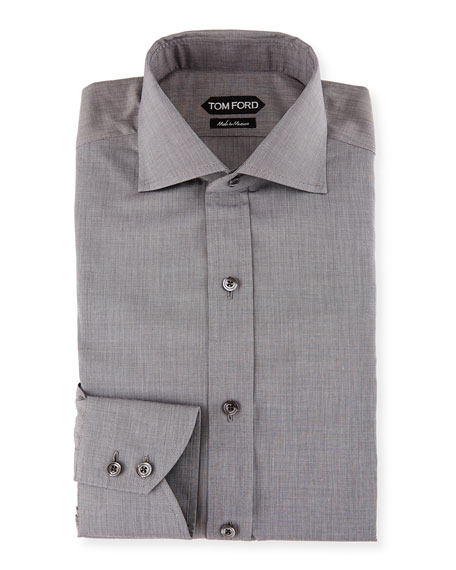 Image 1 of 2: Slim-Fit End-on-End Dress Shirt, White/Black